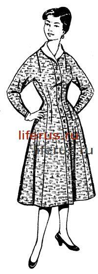Платье с цельнокроеным длинным рукавом и вставным бочком