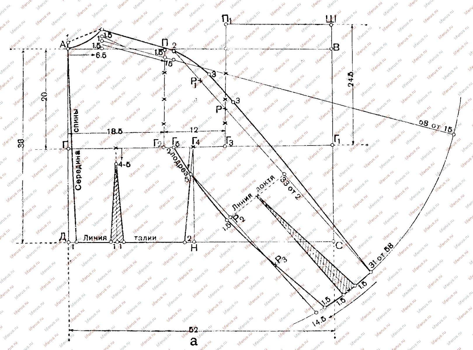 Лиф с цельнокроеным рукавом построение выкройки